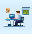 man work from home to protection from virus infect vector image vector image