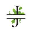 monogram floral split letter design vector image vector image