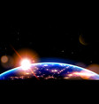 night side earth from space on sunrise vector image vector image