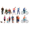 Old people in different activities situations vector image vector image
