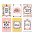princess cards vintage cute pink frame with gold vector image vector image