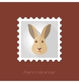 Rabbit flat stamp Animal head