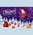 santa with christmas gifts flying on deer sleigh vector image vector image