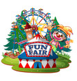 scene with happy clown at fair on white vector image vector image