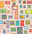 Seamless pattern with post stamps - funny childish vector image vector image