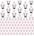 seamless patterns with black cat face and paw vector image
