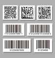 set barcode stickers qr code label collection vector image vector image