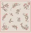 set hand drawn christmas decoration mistletoe vector image