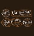 set vintage lettering catering vector image