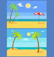 tropical resort set palm trees vector image vector image
