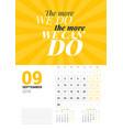 wall calendar template for september 2019 design vector image vector image