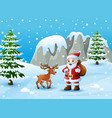 winter background with santa claus and deer vector image