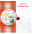 Womens day greeting card with number eight shaped