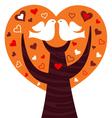 Birds couple in a orange heart tree vector image