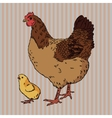 Realistic broody chicken and baby chick side view vector image