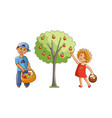 flat children in garden scenes set isolated vector image