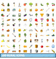 100 rural icons set cartoon style vector image