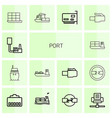 14 port icons vector image vector image