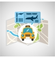 airline ticket map travel taxi cab vector image vector image