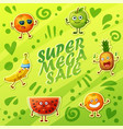 background with crazy funny fruit characters vector image vector image