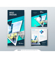 bifold brochure design teal template for bi fold vector image vector image
