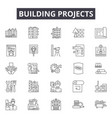 building projects line icons signs set vector image vector image