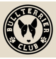 Bull terrier face Bull terrier club badge vector image vector image