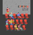 cartoon people with popcorn watching movie vector image vector image