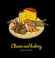 cheese and bakery poster vector image vector image