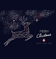 christmas and new year copper outline deer card vector image vector image