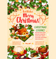 christmas cuisine poster with new year dinner vector image vector image