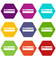 conditioner icon set color hexahedron vector image vector image