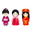 cute asian girls in national dress vector image vector image