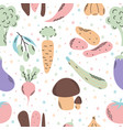 cute seamless pattern with vegetables colorful vector image