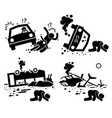 disaster accident tragedy of car motorcycle vector image vector image