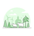 eco farming - thin line design style vector image