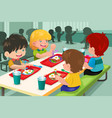 elementary students eating lunch in cafeteria vector image