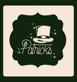 emblem patricks text with top hat in green color vector image