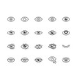 eye flat line icons set tired eyes vision vector image vector image