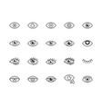 eye flat line icons set tired eyes vision vector image