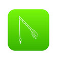 fishing rod icon green vector image