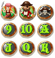 Game characters and numbers on token vector image