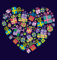 gift boxes heart shape vector image vector image