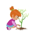 Girl Planting A Tree vector image vector image