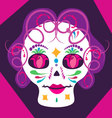 girl skulll with flowers 2 vector image