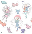 girls and catss pattern vector image