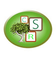 green plant with corporate social responsibility c vector image vector image