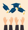 hands throwing hats graduation vector image