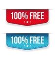 Hundred percent free ribbon set vector image vector image