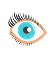 hunman blue eye with eyelashes cartoon vector image vector image